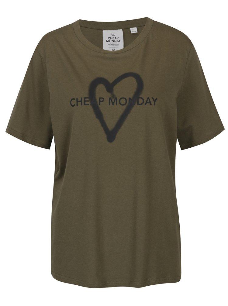 Tricou kaki cu print Cheap Monday Love