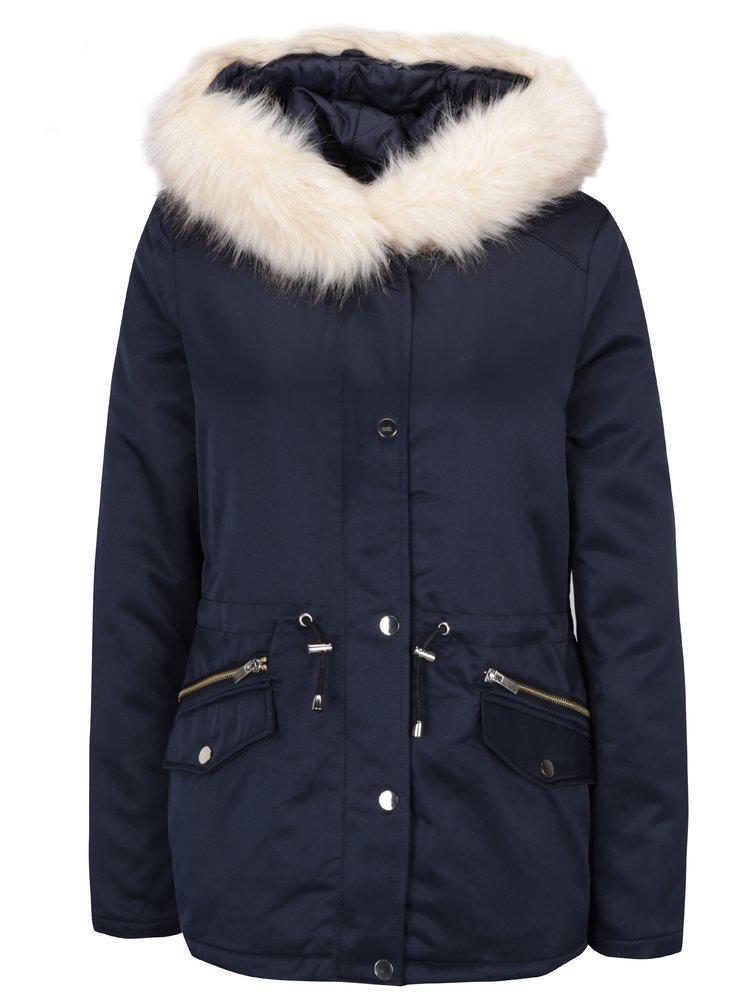 Tmavě modrá zimní parka s kapucí Dorothy Perkins