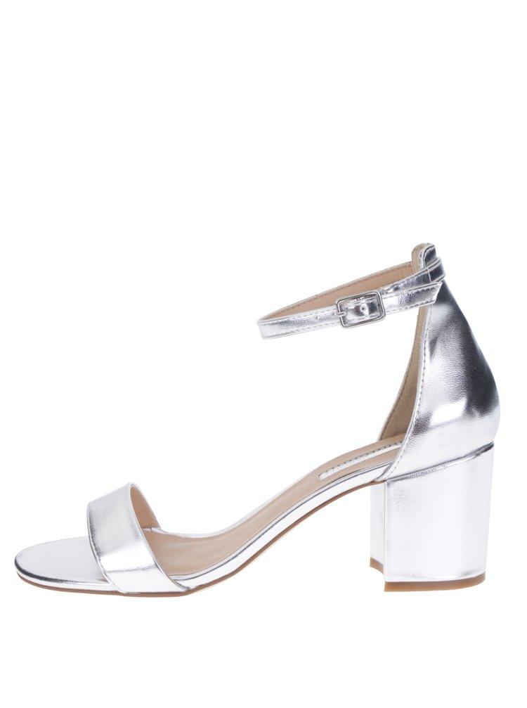 Sandale argintii cu baretă și toc gros - Dorothy Perkins