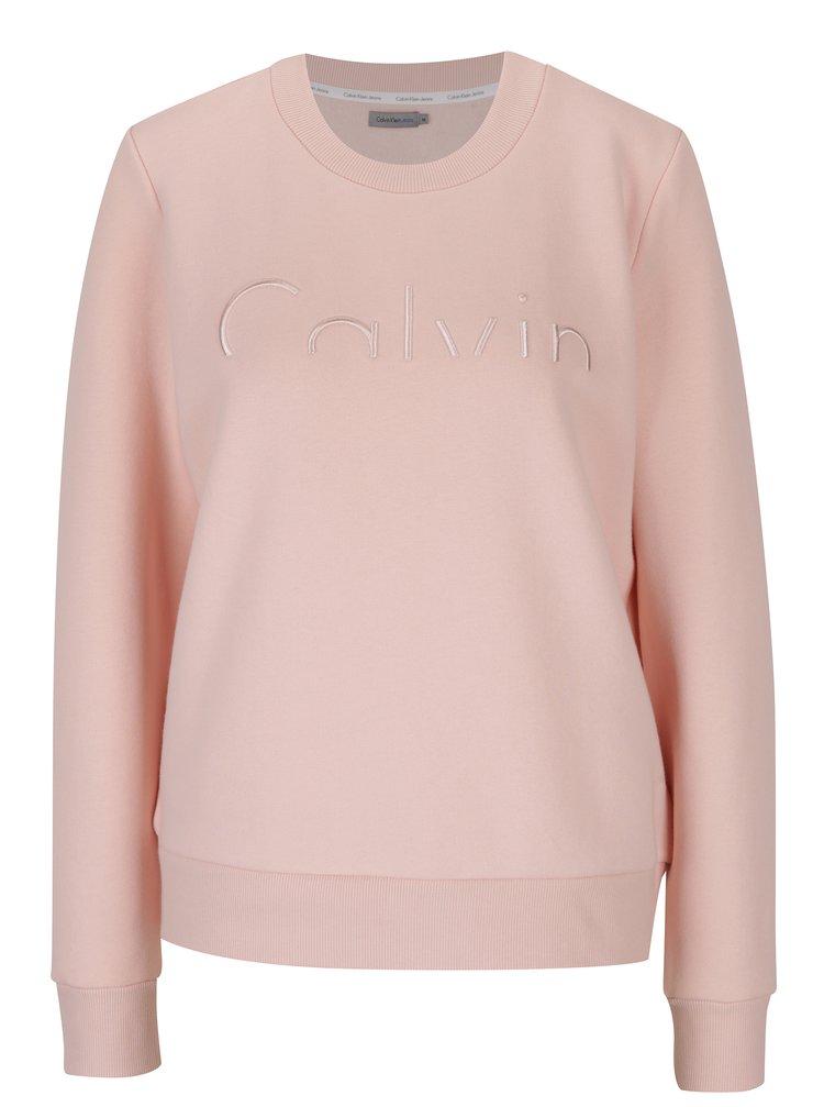 Světle růžová dámská mikina s výšivkou Calvin Klein Jeans Hadar