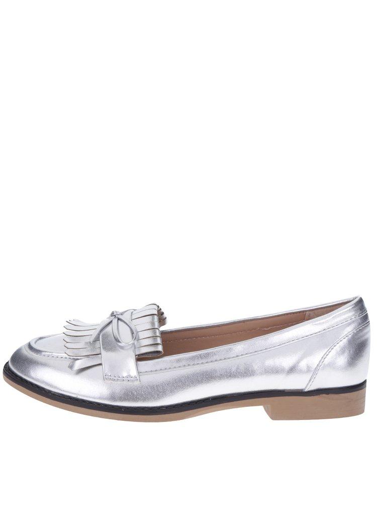 Metalické mokasíny ve stříbrné barvě Dorothy Perkins