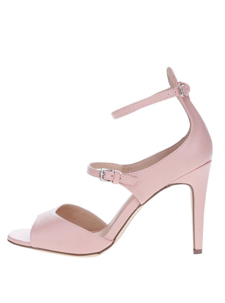 Světle růžové sandálky na jehlovém podpatku Dorothy Perkins