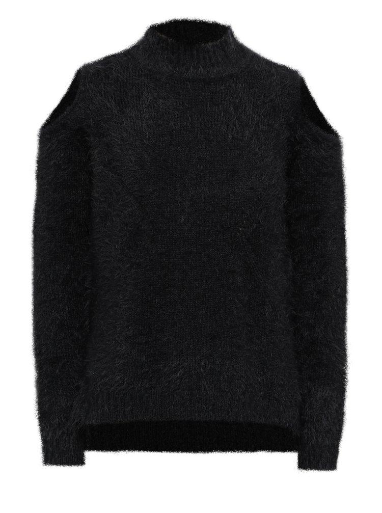 Černý holčičí svetr s průstřihy na ramenou Blue Seven