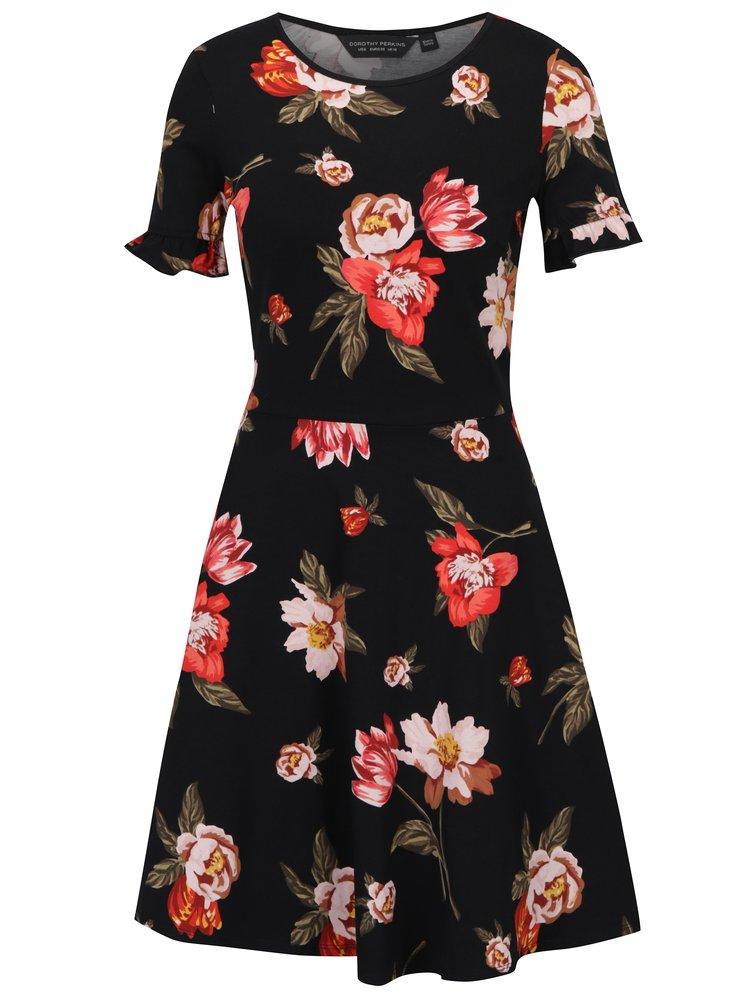 Černé květované šaty s volány na rukávech Dorothy Perkins