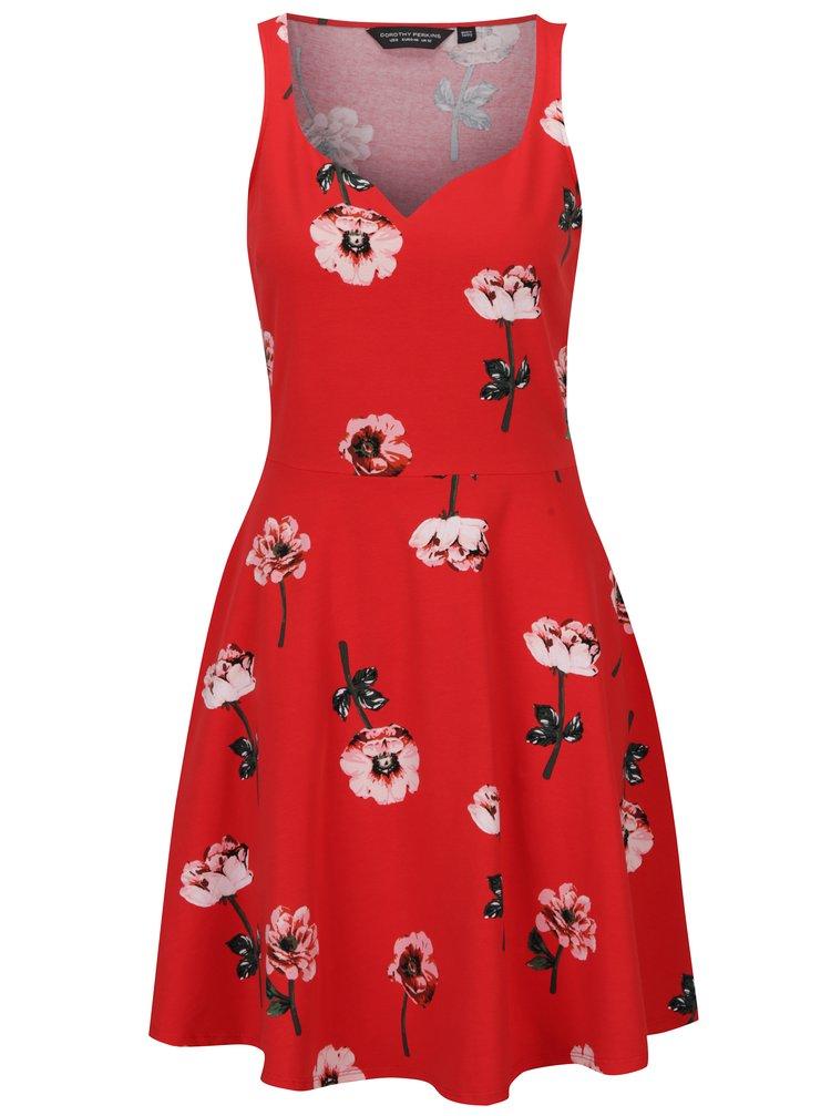 Červené květované šaty bez rukávů Dorothy Perkins