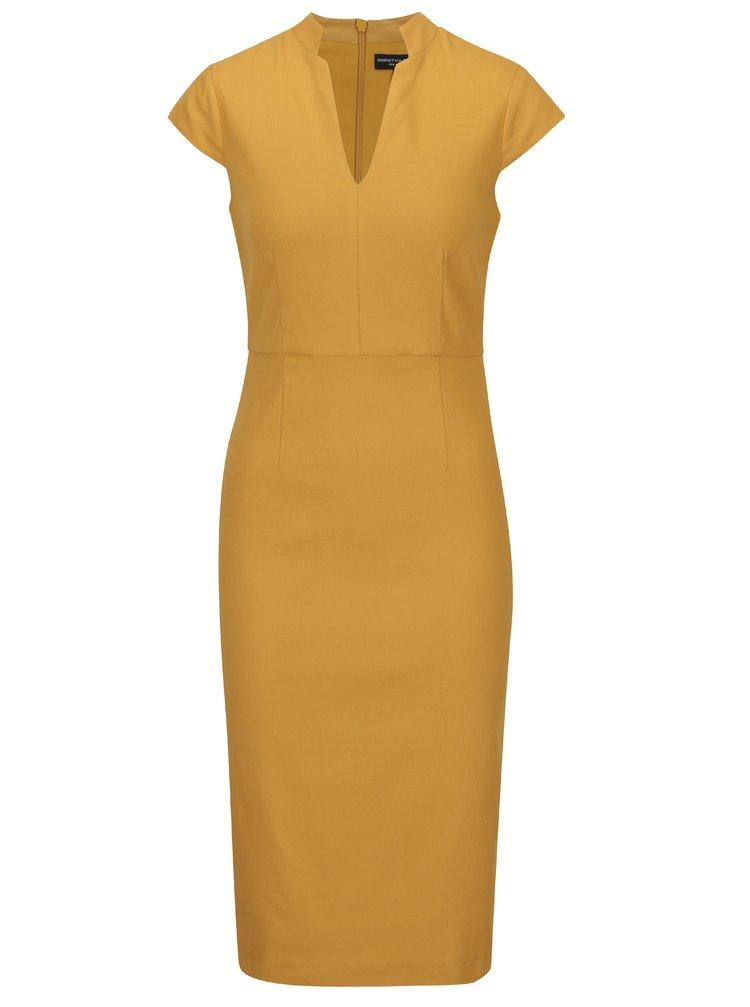Rochie midi tubulară galben muștar Dorothy Perkins