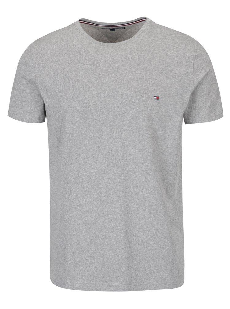 Sivé pánske basic tričko s krátkym rukávom Tommy Hilfiger New Stretch