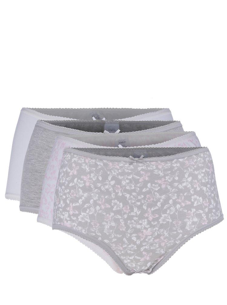 Sada pěti vzorovaných kalhotek v šedé a krémové barvě M&Co
