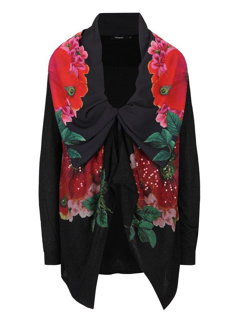 Cardigan negru cu flori și guler șal Desigual Anna