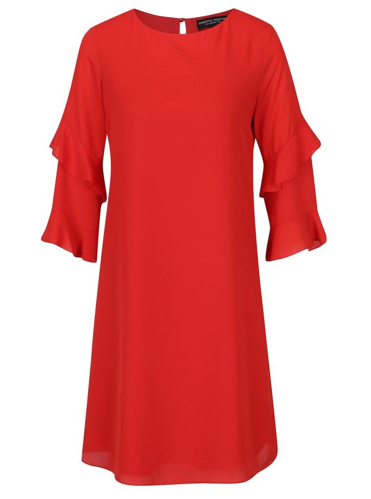Červené volné šaty s volány na rukávech Dorothy Perkins Tall