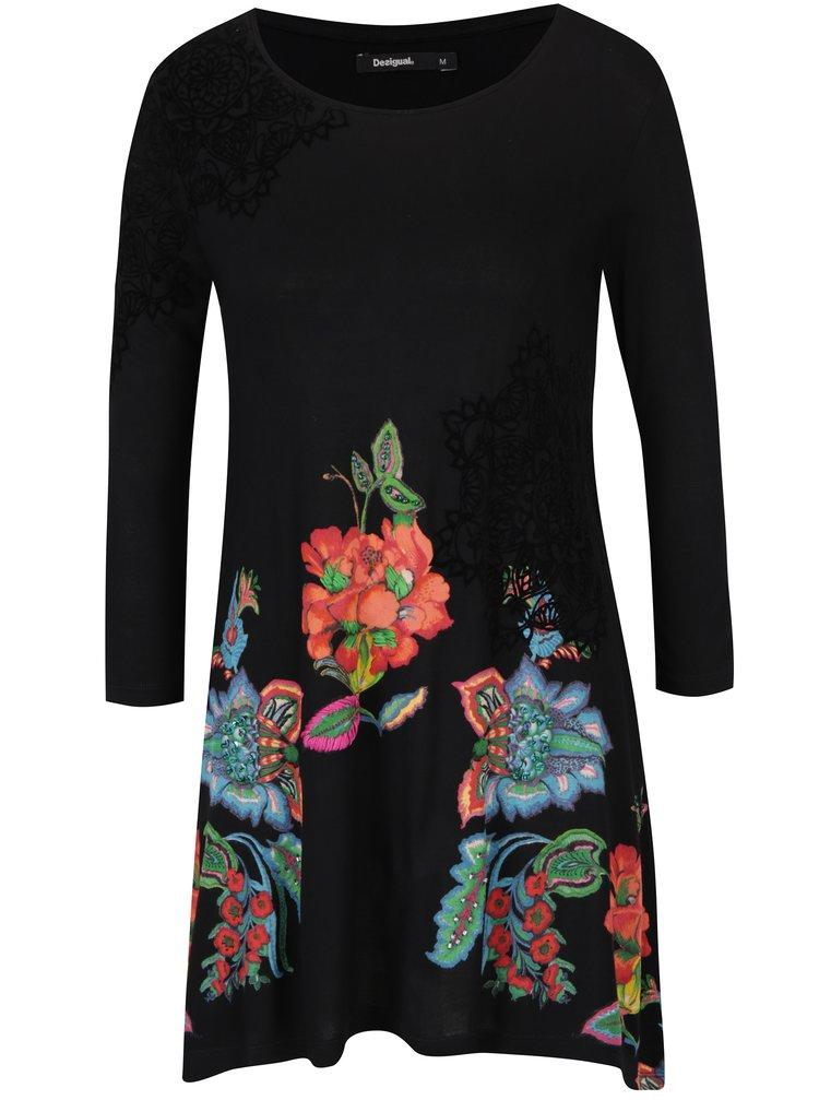 Černé volné květované tričko s tříčtvrtečním rukávem Desigual Amona