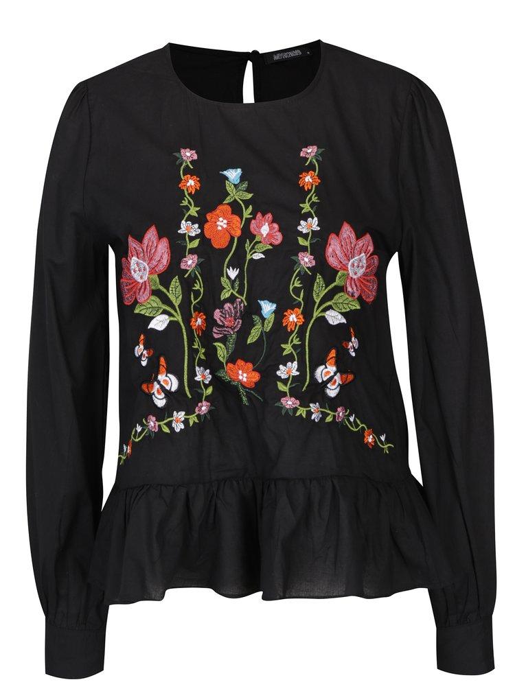 Bluză neagră cu broderie și mâneci lungi Haily´s Anny