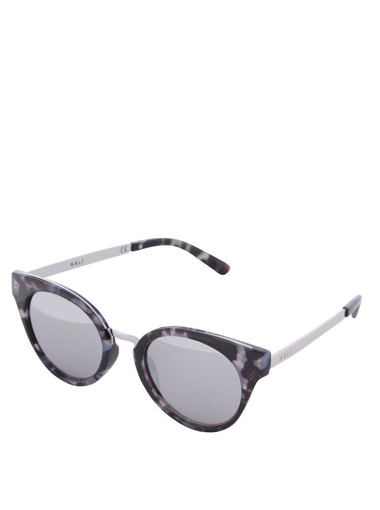 Šedo-černé dámské vzorované sluneční brýle Nalí