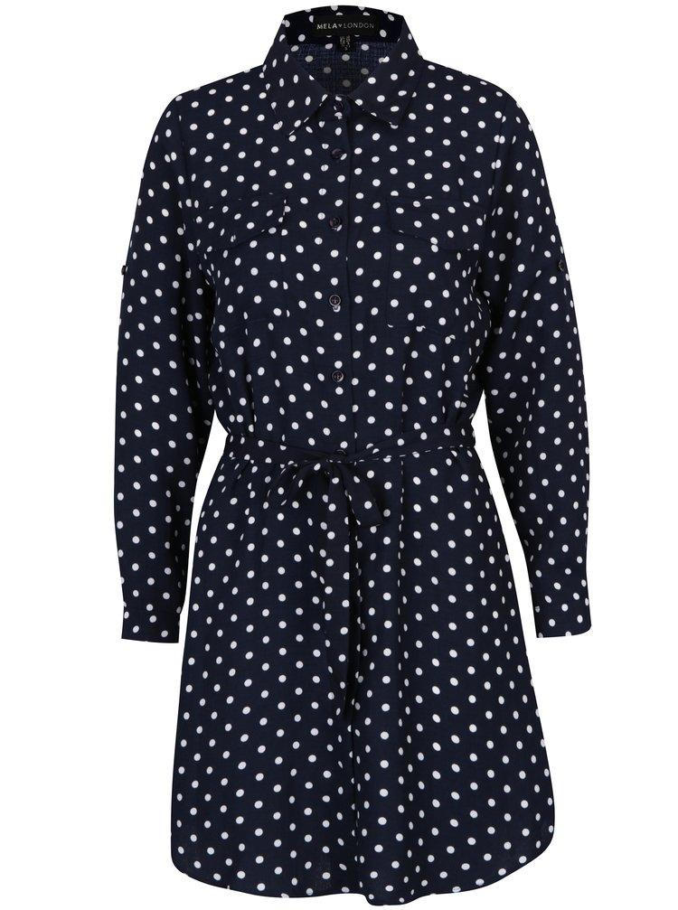 Rochie camasa bleumarin cu imprimeu cu buline - Mela London