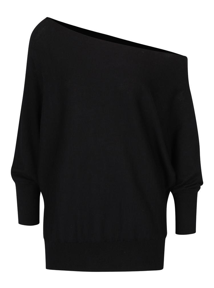 Černý volný asymetrický svetr s netopýřími rukávy YAYA