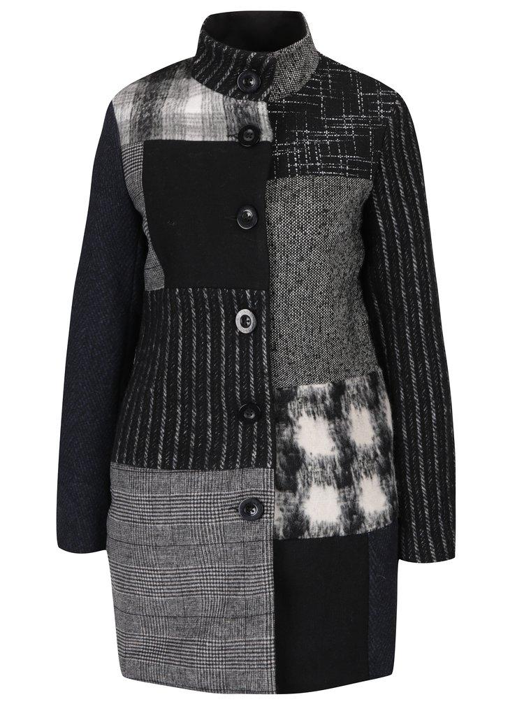 Jachetă groasă gri&negru cu model asimetric Desigual Rosita