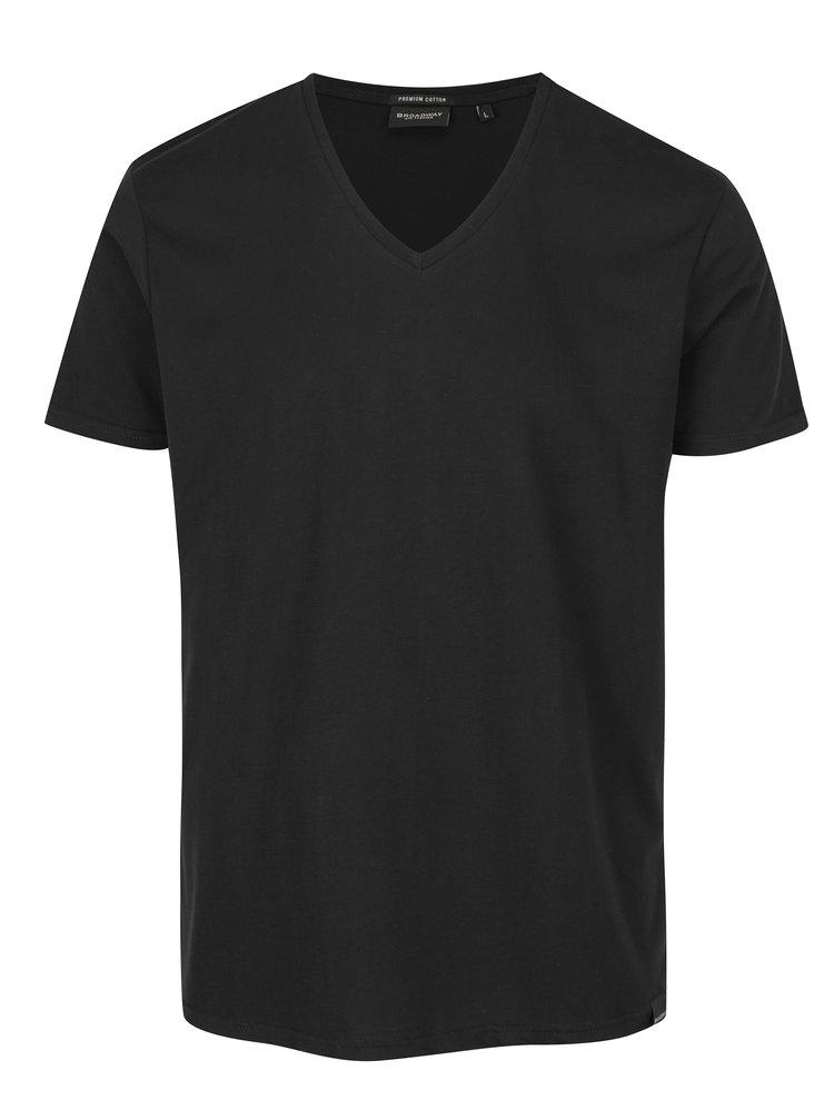 Černé pánské basic tričko s véčkovým výstřihem Broadway Garet