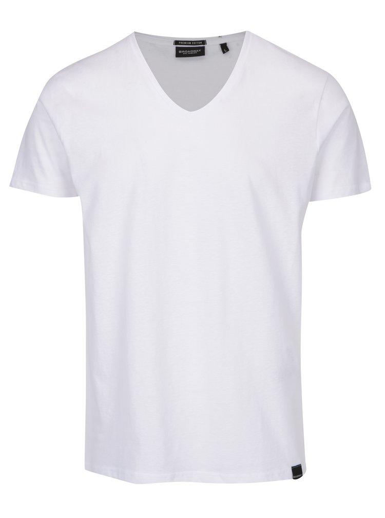 Bílé pánské basic tričko s véčkovým výstřihem Broadway Garet