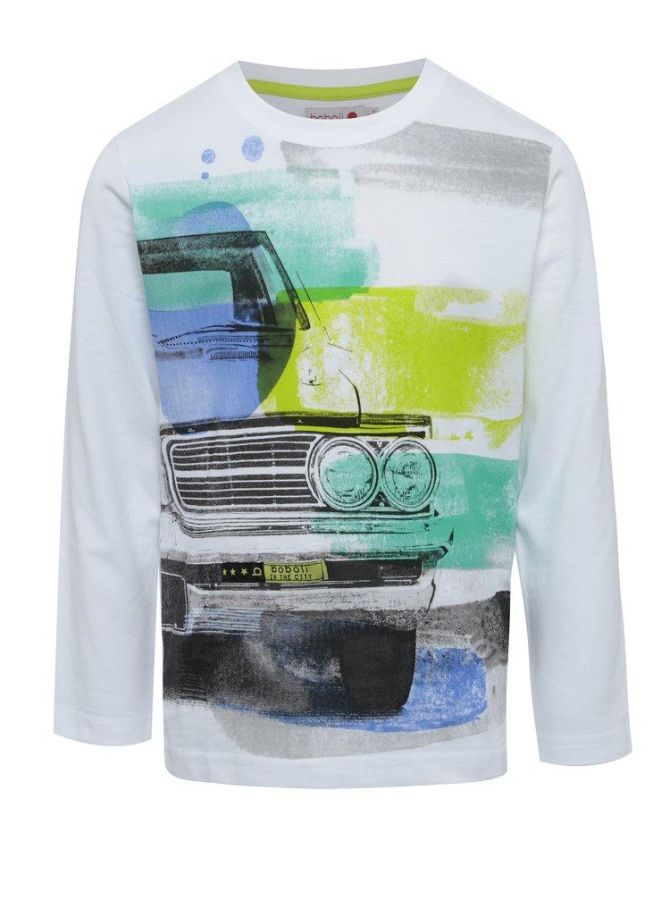 Bílé klučičí tričko s potiskem a záplatami na loktech BÓBOLI