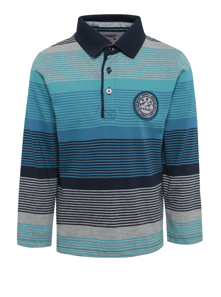 Modré chlapčenské pruhované polo tričko s dlhým rukávom a golierom BÓBOLI