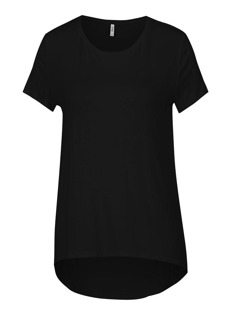 Černé tričko s prodlouženým zadním dílem ONLY Louise