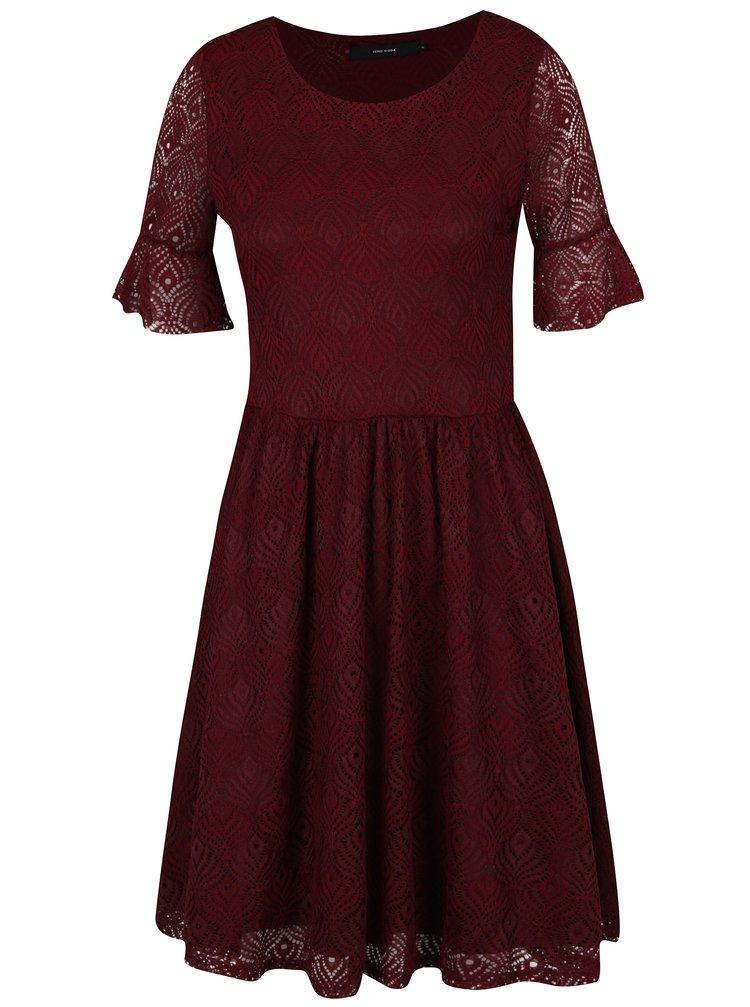 Vínové krajkové šaty VERO MODA Majse
