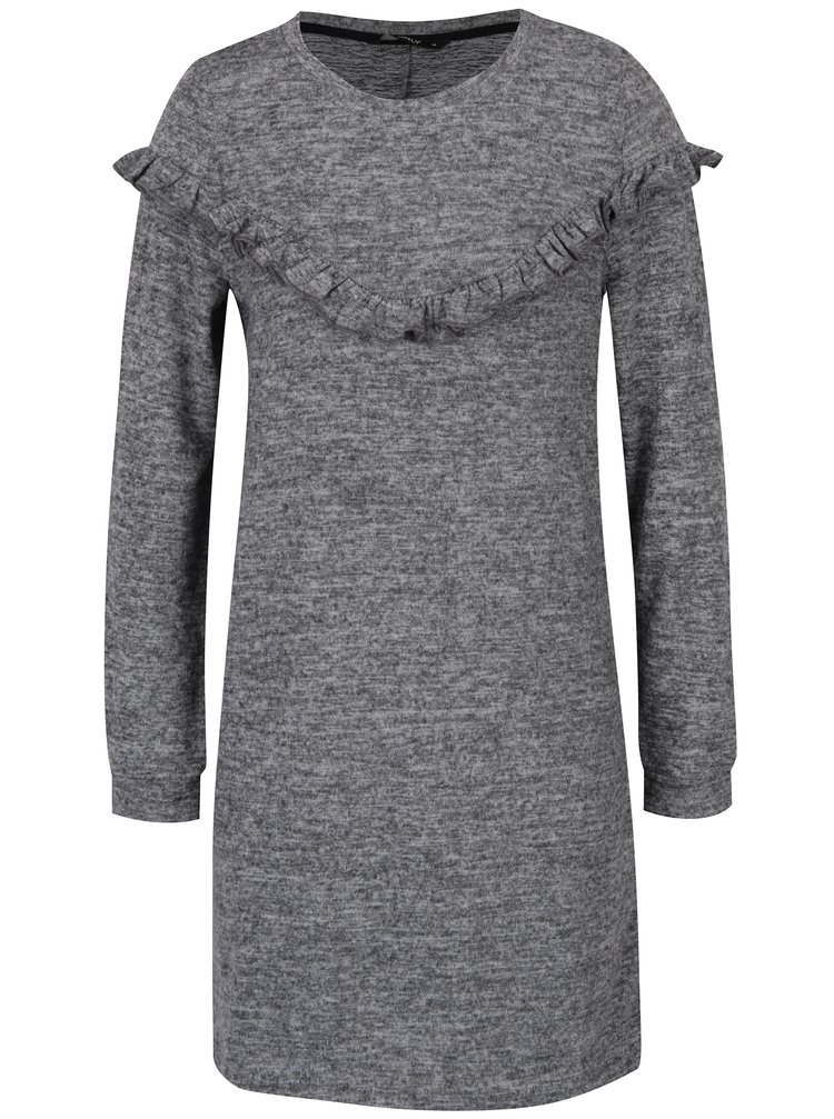 Tmavě šedé šaty s volánkem ONLY Elcos