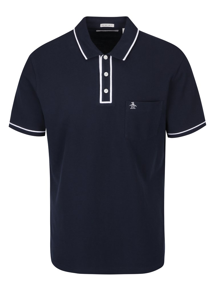 Tmavě modré slim fit polo tričko s náprsní kapsou Original Penguin The Earl