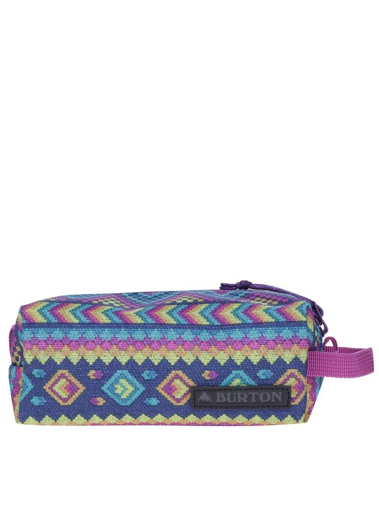 Tyrkysovo-fialová holčičí vzorovaná kosmetická taška Burton