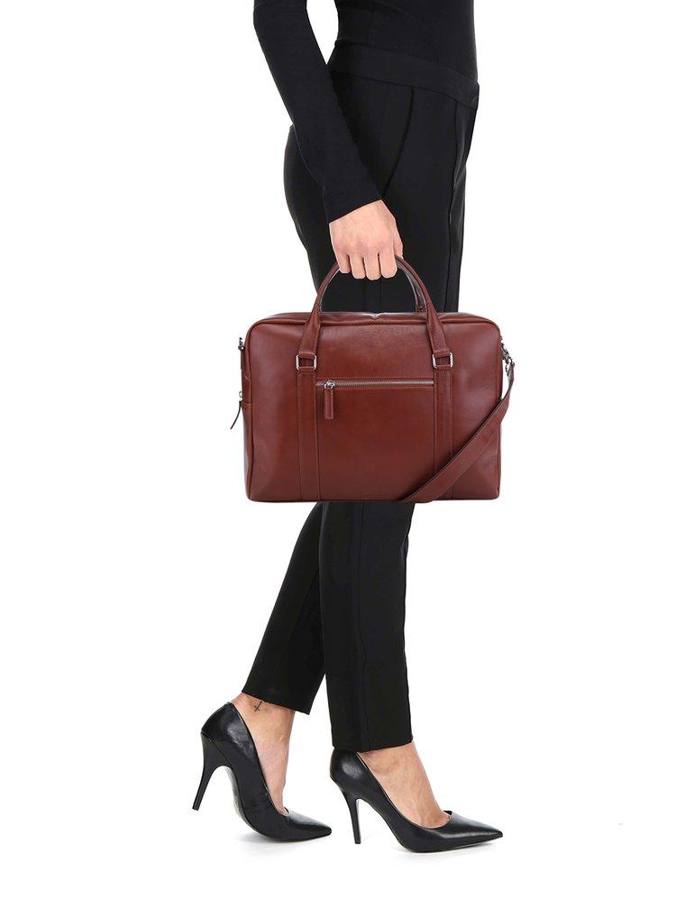 222d621675 ... Hnedá dámska kožená taška na notebook Royal RepubliQ
