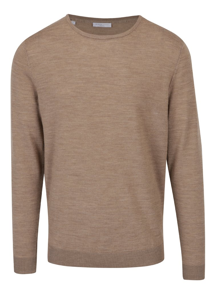 Pulover bej din lana merino Selected Homme Tower