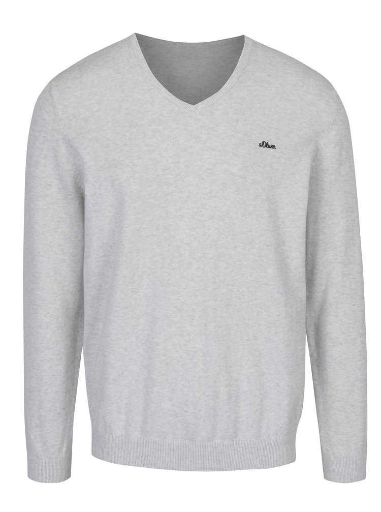 Světle šedý pánský svetr s véčkovým výstřihem s.Oliver