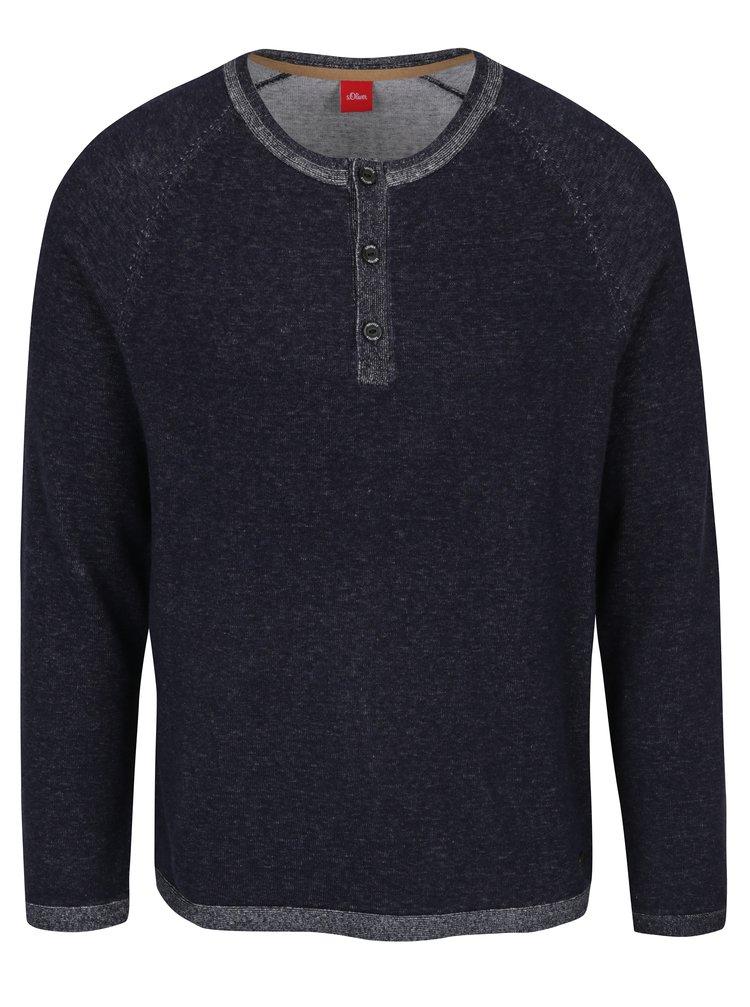 Tmavomodrý pánsky melírovaný sveter s gombíkmi s.Oliver