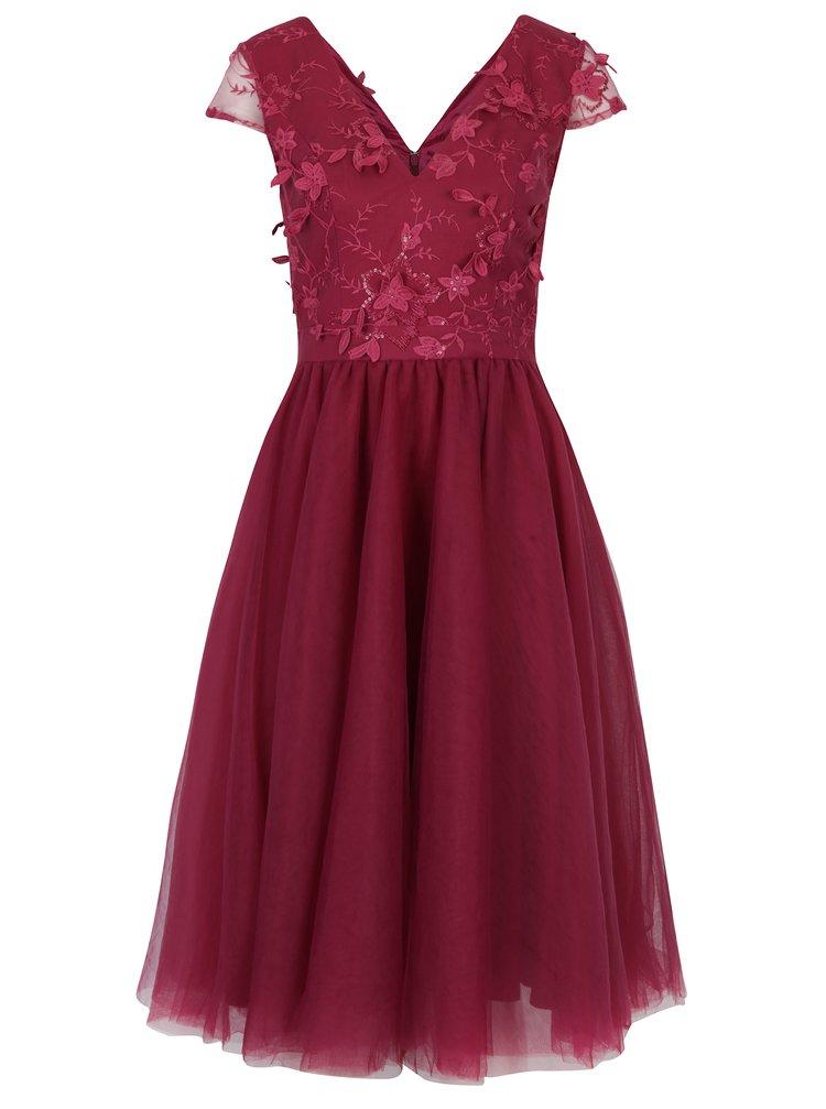 Tmavě růžové šaty s květinovou aplikací Chi Chi London