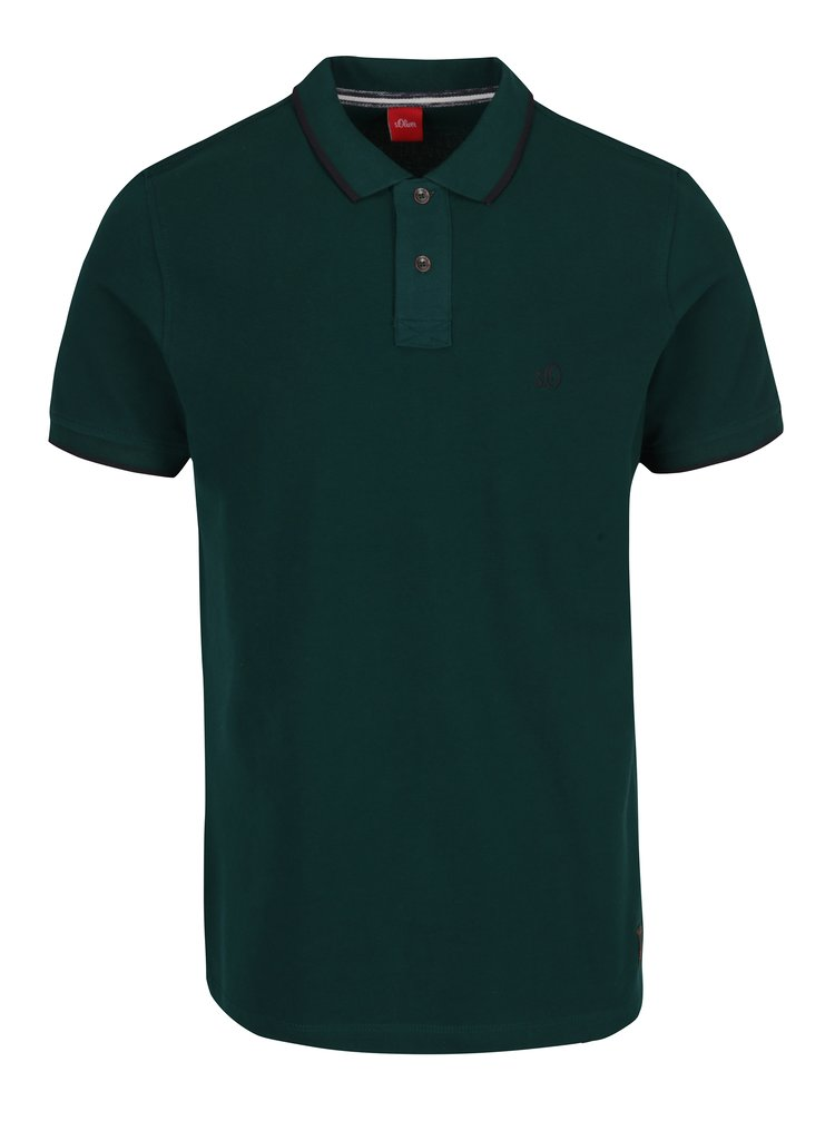 Tricou polo verde inchis s.Oliver