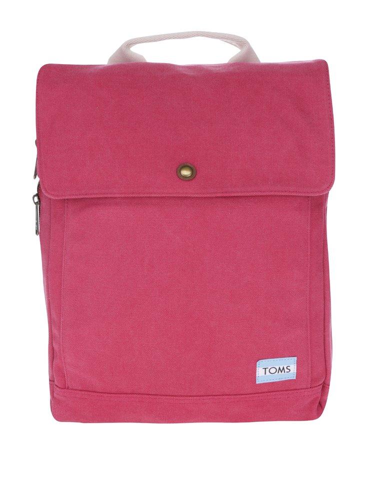 Tmavě růžový dámský batoh na notebook TOMS