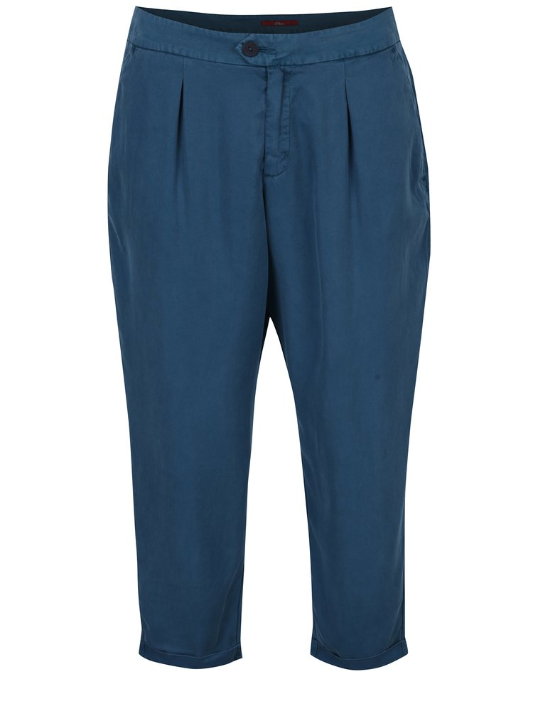Petrolejové dámské zkrácené chino kalhoty s.Oliver