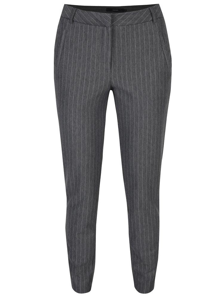 Sivé pruhované nohavice VERO MODA Victoria
