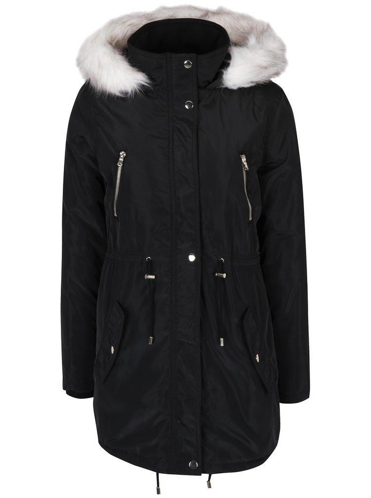 Černá zimní parka s kapucí a umělým kožíškem Dorothy Perkins