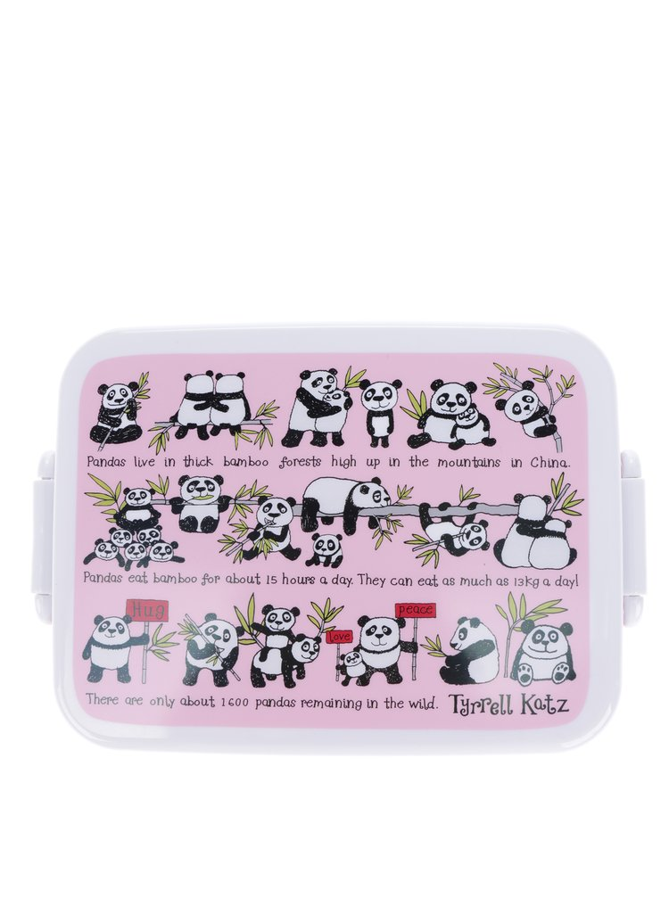 Ružový dievčenský desiatový box Tyrrell Katz Pandas