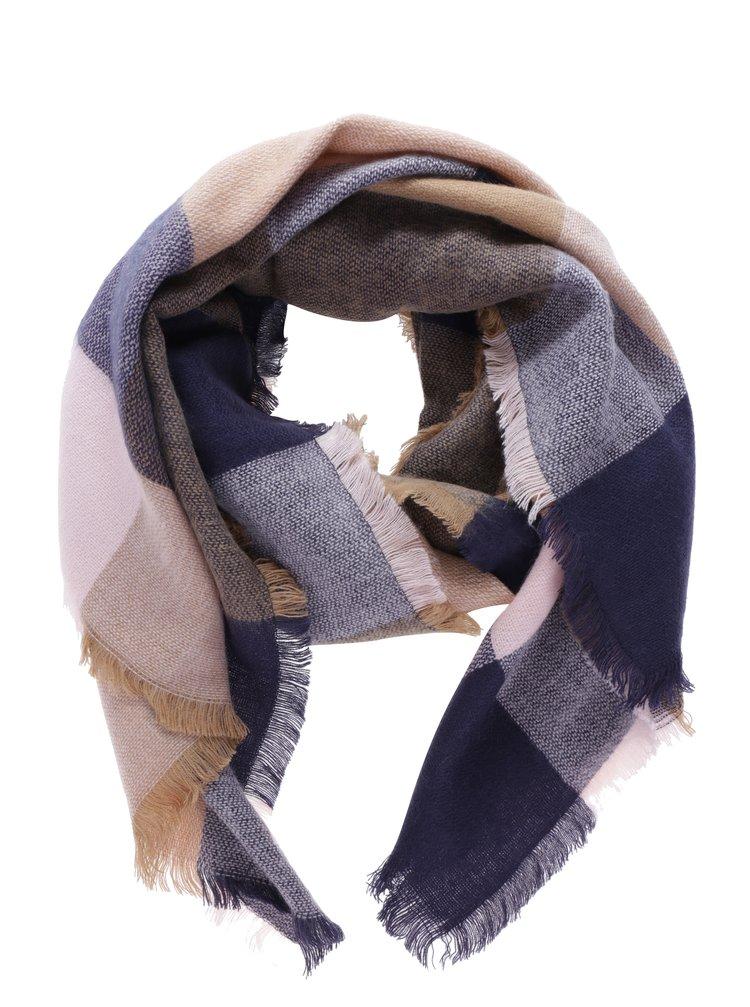 Hnědo-modrý kostkovaný dámský šátek Tom Joule
