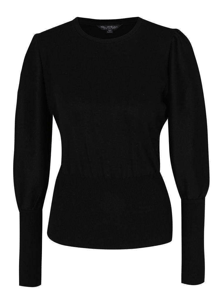 Černý svetr s balónovými rukávy Miss Selfridge