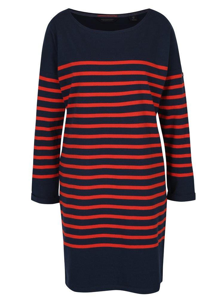 Modro-červené pruhované oversize šaty s dlouhým rukávem Scotch & Soda