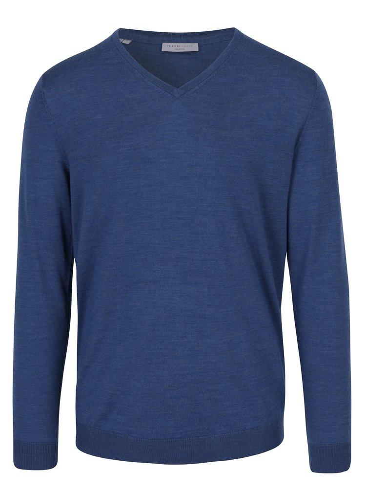Pulover albastru din lână merino pentru bărbați - Selected Homme Tower
