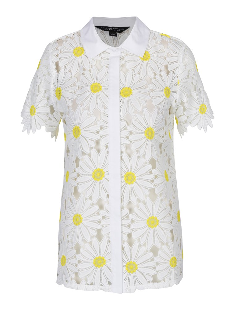 Bílá květovaná košile s krátkým rukávem Dorothy Perkins