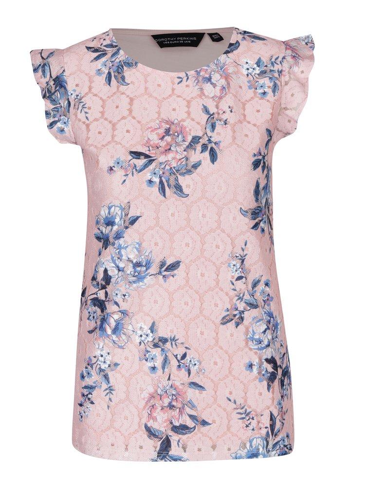 Top roz din dantela cu print floral si volane  Dorothy Perkins