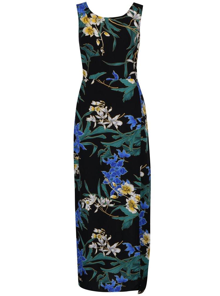 Černé maxišaty s květinovým potiskem Dorothy Perkins