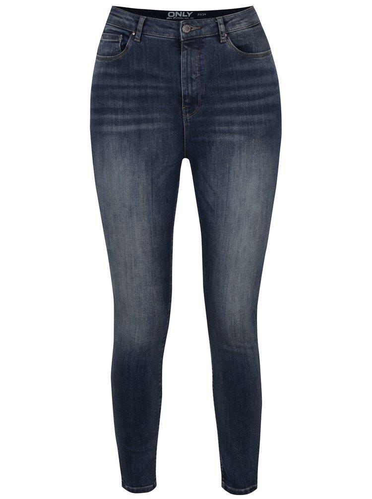 Tmavě modré skinny džíny s vysokým pasem a vyšisovaným efektem ONLY Posh