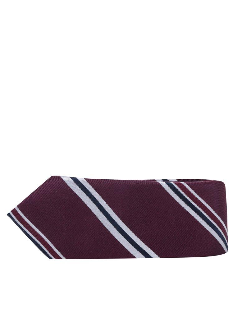 Cravata burgundy in dungi din matase naturala - Selected Homme New
