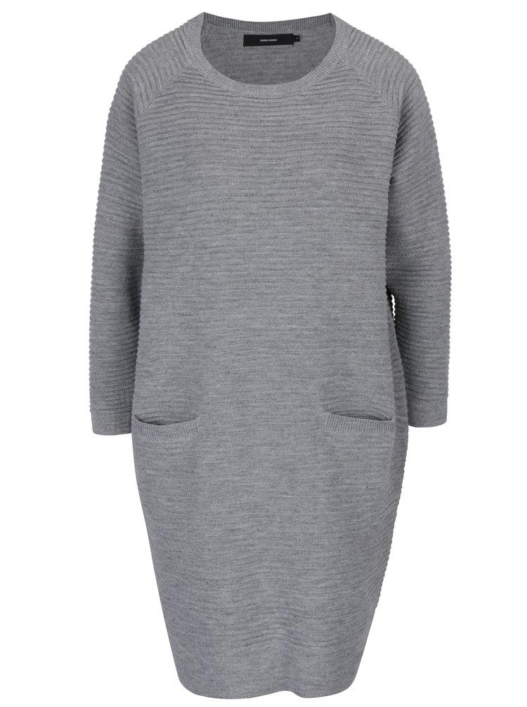 Světle šedé svetrové šaty s dlouhým rukávem VERO MODA Natascha